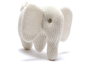 White Elephant Knitted Organic Cotton Baby Rattle