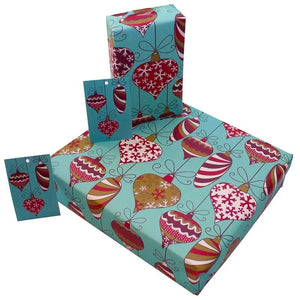 Recycled Christmas Wrapping Paper with Tag - Decorations
