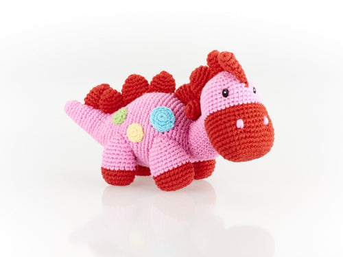 Fairtrade Steggi Dinosaur Baby Rattle pink