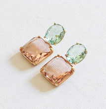 Load image into Gallery viewer, Pink Blue Stone Cut Luxe Earrings
