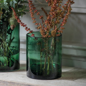 Small Recycled Glass Cylinder Vase Forest Green