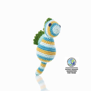 Fairtrade Crochet Seahorse Rattle Blue