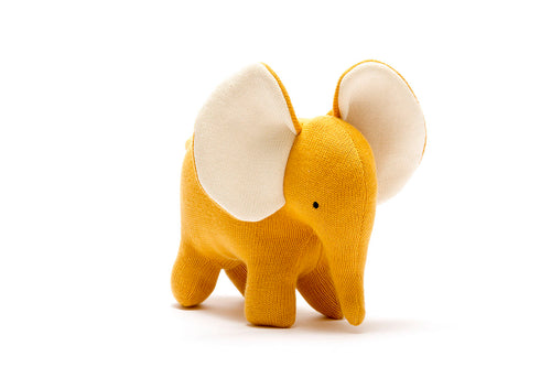 Mustard Organic Cotton Elephant Soft Toy Large
