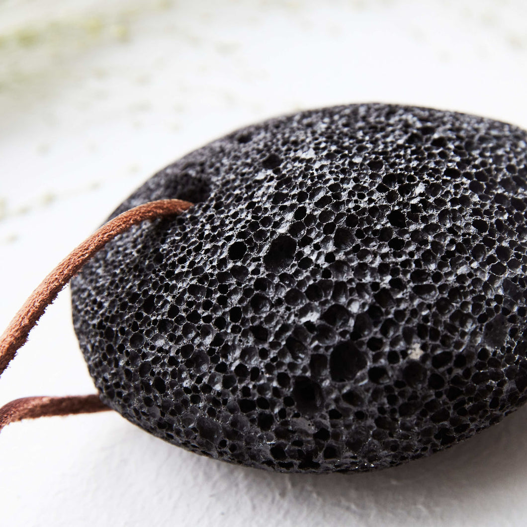 Black Pumice Stone with Suede String