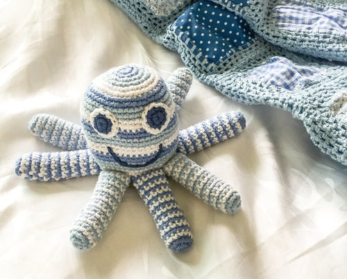 Fairtrade Crochet Octopus Rattle Baby Blue with blanket