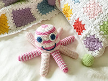 Load image into Gallery viewer, Fairtrade Crochet Octopus Rattle Pink with blanket
