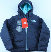 Load image into Gallery viewer, GIRLS THE NORTH FACE PERRITO REVERSIBLE JACKET, HOODED, GREY/TEAL,XXS (5), NWT!