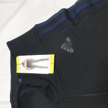 Load image into Gallery viewer, Women's Adidas Climalite 3 Stripe Tight Black With Navy Stripe Small NWT