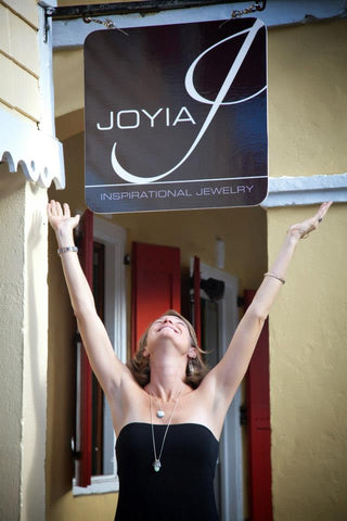 Joyia celebrating the opening of her Jewelry store in St. Croix.