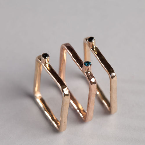 Square Diamond Stackable Rings - Joyia Jewelry