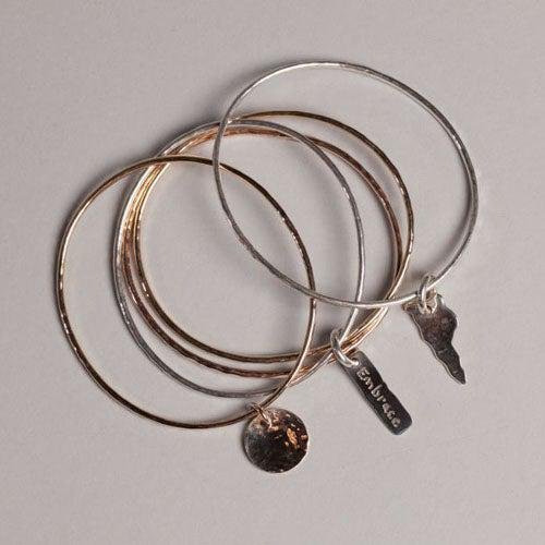 Triple Bangle Bracelet with Charm - Joyia Jewelry