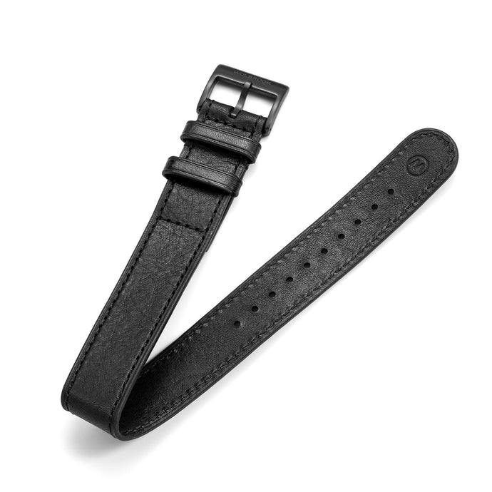 One-Piece Black Leather Band & Black PVD Buckle