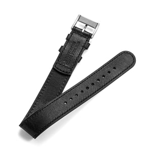 20mm black one-piece leather  watch band with steel buckle Back View