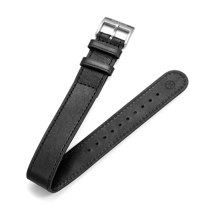 20mm black one-piece leather  watch band with steel buckle