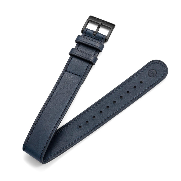 One-Piece Blue Leather Band & Black PVD Buckle
