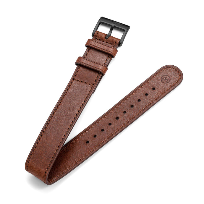 One-Piece Brown Leather Band & Black PVD Buckle