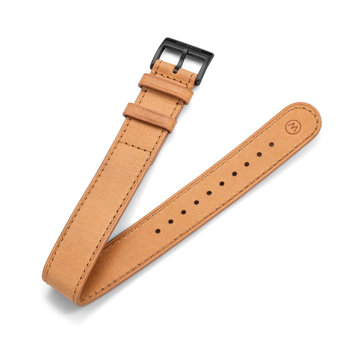One-Piece Camel Leather Band  & Black PVD Buckle