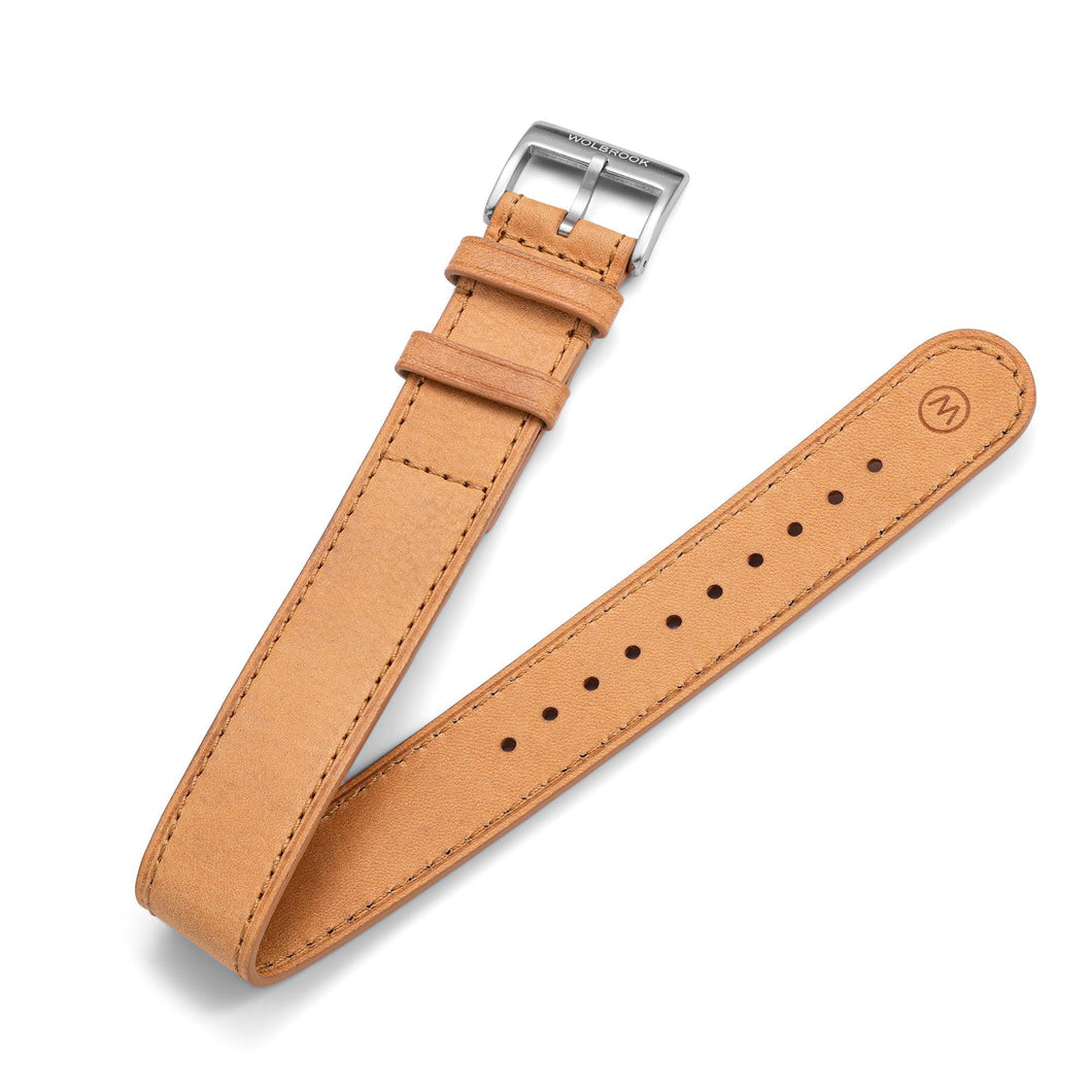 One-Piece Camel Leather Band & Steel Buckle