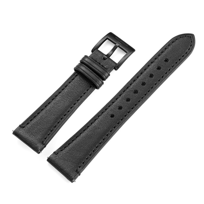 Two-Piece Black Leather Strap & Black PVD Buckle