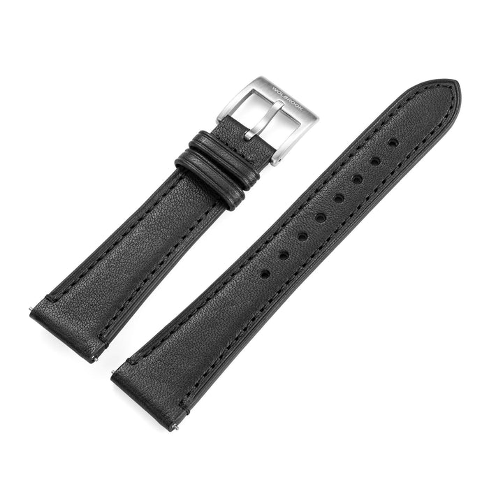 Two-Piece Black Leather Strap & Steel Buckle