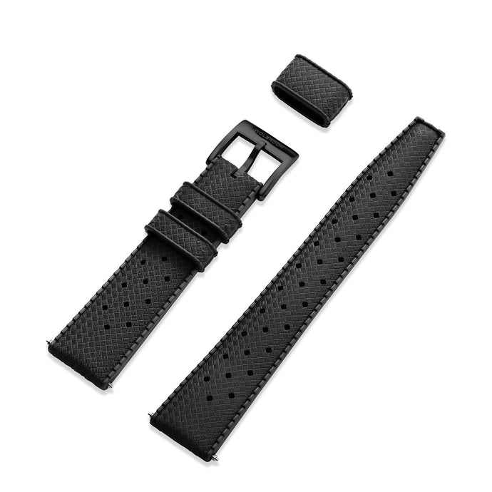 Black Tropic Rubber Strap & Black PVD Steel Buckle