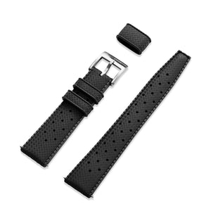 Black Tropic strap in rubber 20mm with 316L stainless steel buckle