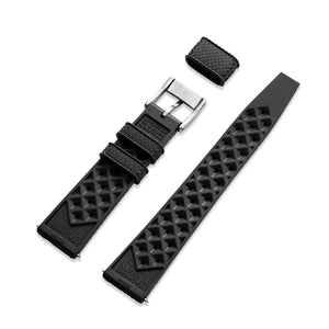 Black Tropic strap in rubber 20mm with 316L stainless steel buckle back view
