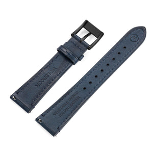 Two-Piece Blue Leather Strap & Black PVD Buckle