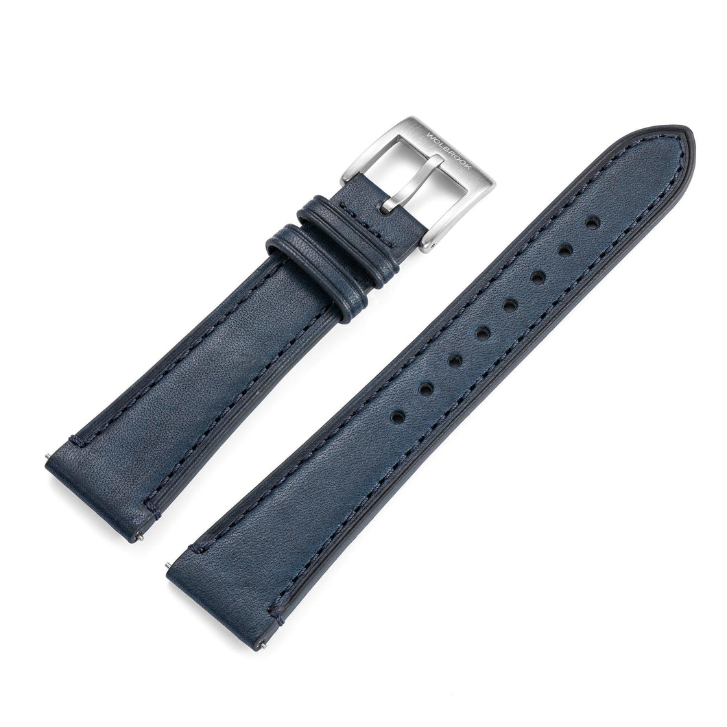 Two-Piece Blue Leather Strap & Steel Buckle