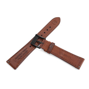 Two-Piece Brown Leather Strap & Black PVD Buckle