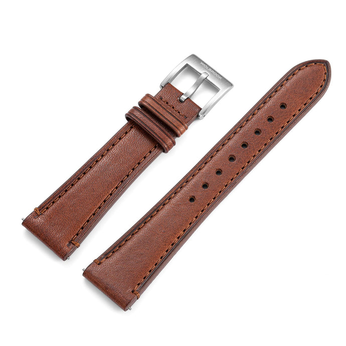 Two-Piece Brown Leather Strap & Steel Buckle