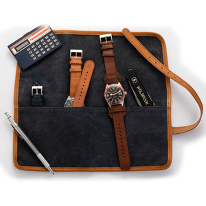 Blue Canvas & camel Leather Watch Roll opened