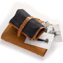 Load image into Gallery viewer, Blue Canvas & camel Leather Watch Roll closed