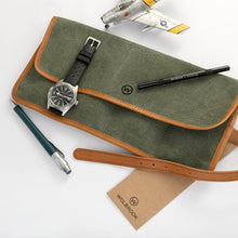 Load image into Gallery viewer, Green Military Canvas & Leather Watch Roll for 4 Watches opened