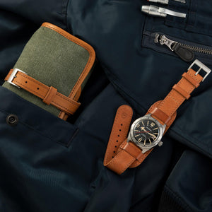 Green Military Canvas & Leather Watch Roll for 4 Watches closed