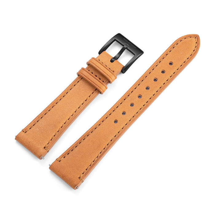 Two-Piece Camel Leather Strap & Black PVD Buckle