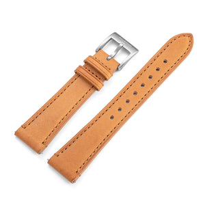 Two-Piece Camel Leather Strap & Steel Buckle