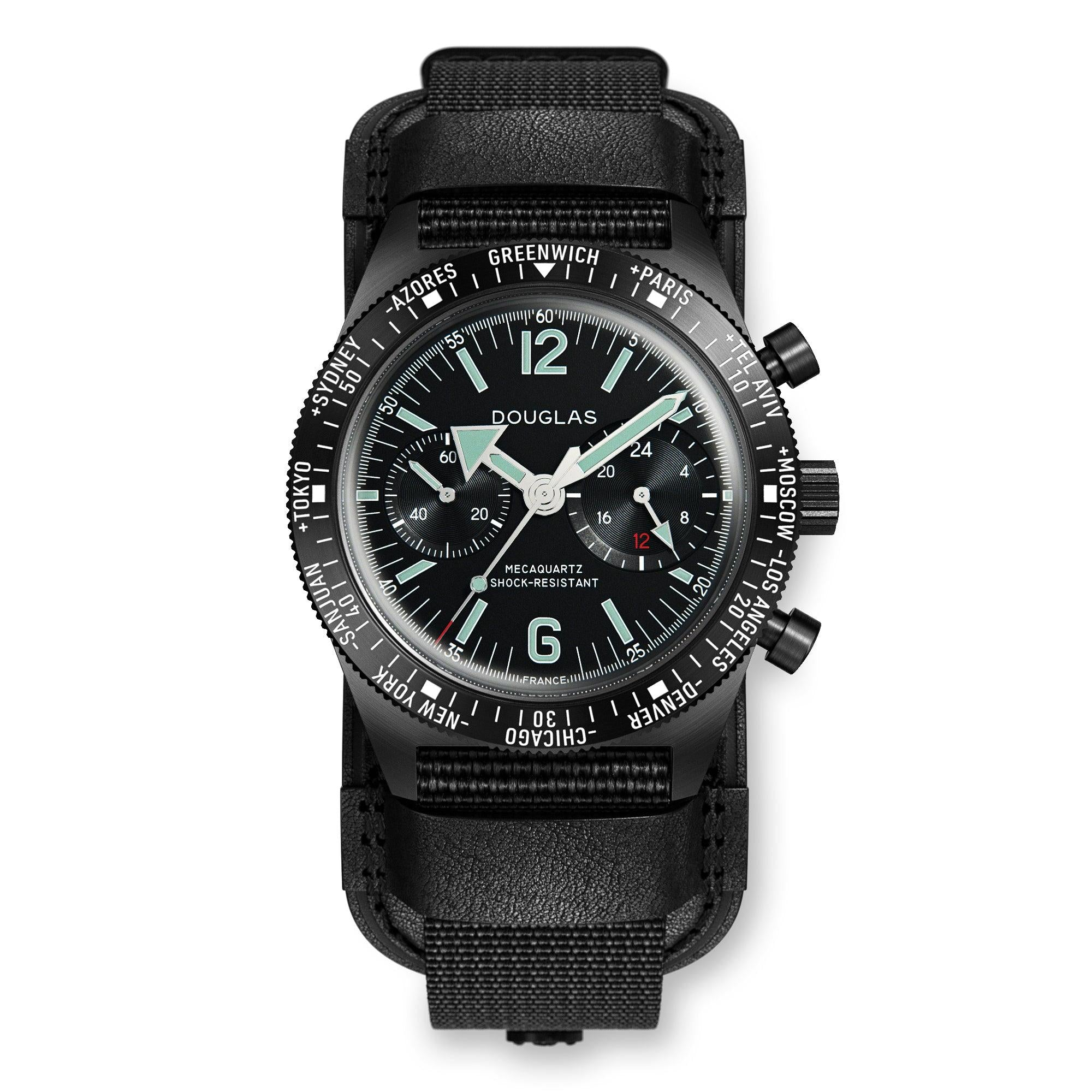 Skindiver WT Professional Chrono-Mecaquartz Black PVD Big Eye Chronograph