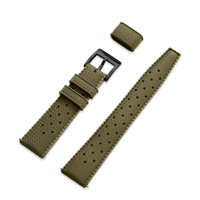Military Green Tropic Rubber Strap & Black PVD Steel Buckle