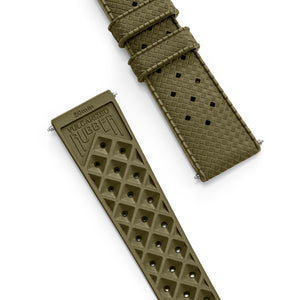 Military Green Tropic Rubber Strap & Steel Buckle