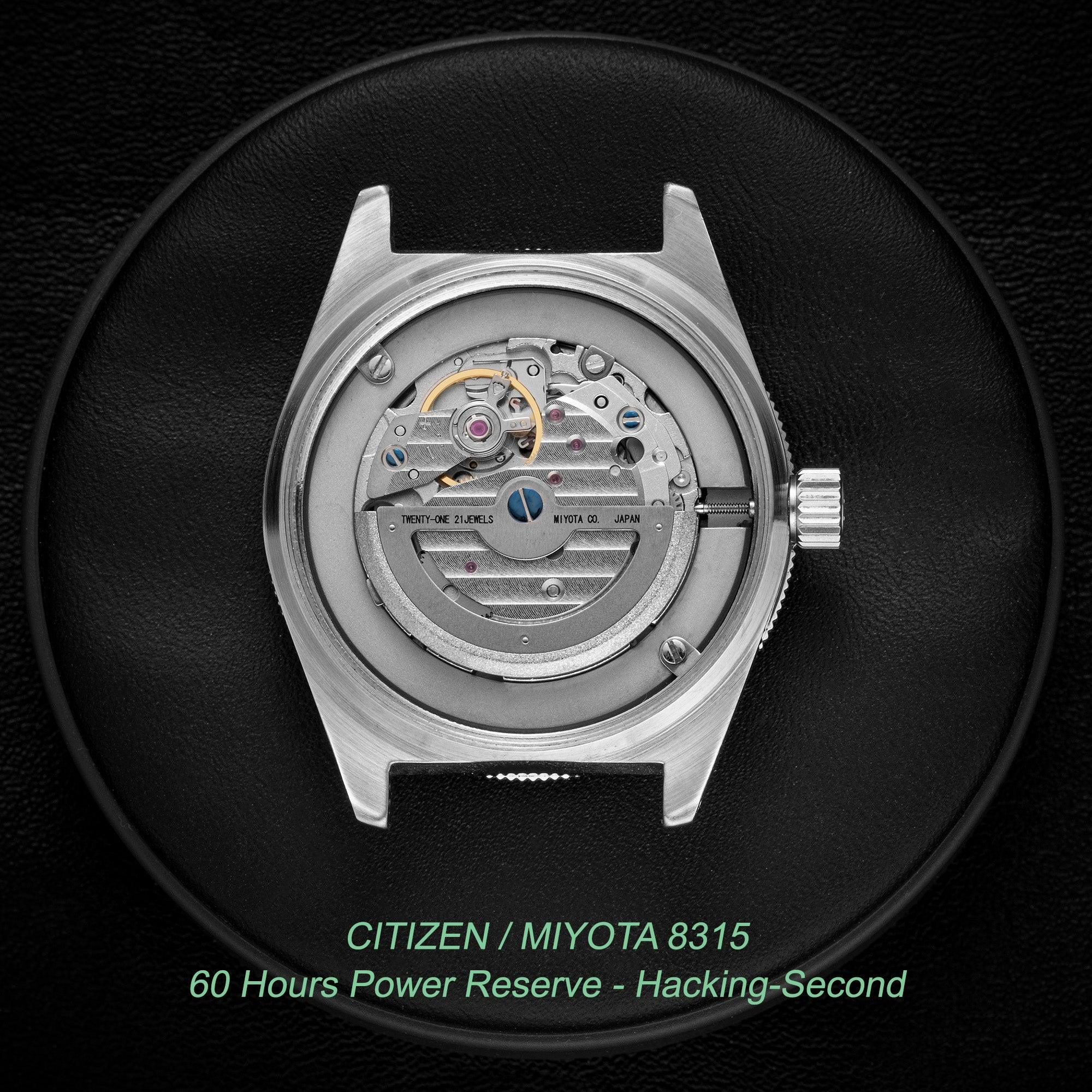 Miyota 8315 with 60 hours power reserve and hacking-second by Citizen