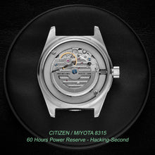 Load image into Gallery viewer, Miyota 8315 with 60 hours power reserve and hacking-second by Citizen