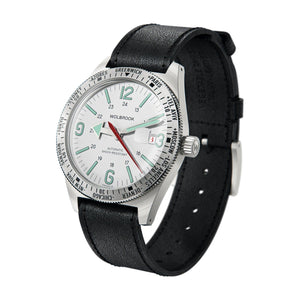 Skindiver WT Automatic - Green Super-LumiNova on White dial & Steel 3/4 view