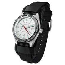 Load image into Gallery viewer, Skindiver WT Professional Tool-Watch with Black Dial and Green C7 Super-LumiNova, on Steel Case with Black PVD Bezel 3/4 view