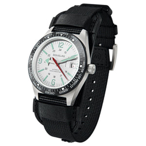 Skindiver WT Professional Tool-Watch with Black Dial and Green C7 Super-LumiNova, on Steel Case with Black PVD Bezel 3/4 view