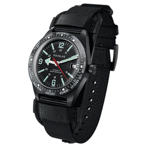 Skindiver WT Professional Tool-Watch with Black Dial and Green C7 Super-LumiNova, on Black PVD Case 3/4 view