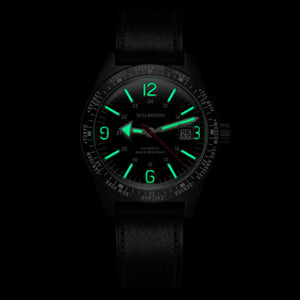 Skindiver WT Automatic Watch, Black Dial with Green Super-LumiNova C7 on
