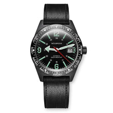 Load image into Gallery viewer, Skindiver WT Automatic Watch, Black Dial with Green C7 Super-LumiNova and Black PVD Case