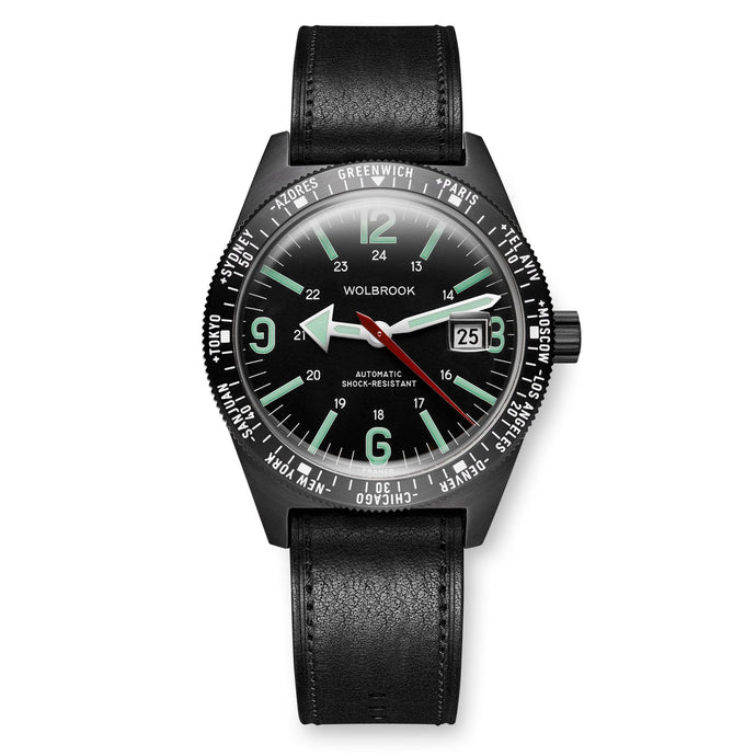 Skindiver WT Automatic Watch, Black Dial with Green C7 Super-LumiNova and Black PVD Case