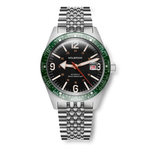 Load image into Gallery viewer, Skindiver WT Automatic Bracelet Watch - Green Bezel & Steel